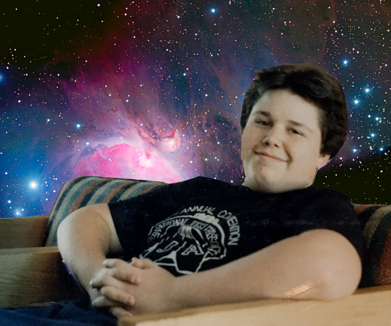 justin on starfield nebula background
